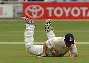 Lord's London, 1st NPower Test   England v New Zealand.  Nassar HUSSIAN, watches his fumbled ball, 20/05/2004 <br /> [Credit Peter Spurrier Intersport Images}