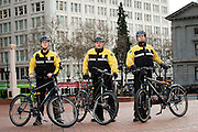 Bicycle security patrol staff for Pacific Patrol Services with their bikes