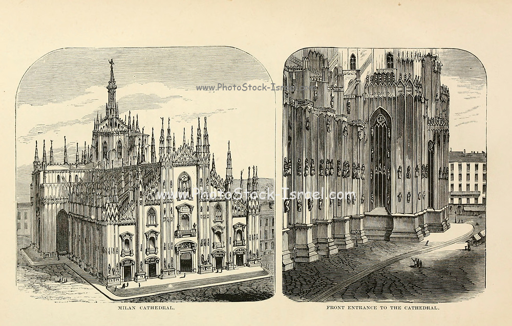 Milan Cathedral from the book Sights and sensations in Europe : sketches of travel and adventure in England, Ireland, France, Spain, Portugal, Germany, Switzerland, Italy, Austria, Poland, Hungary, Holland, and Belgium : with an account of the places and persons prominent in the Franco-German war by Browne, Junius Henri, 1833-1902 Published by Hartford, Conn. : American Pub. Co. ; San Francisco, in 1871