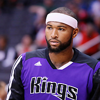 23 November 2013: Sacramento Kings center DeMarcus Cousins (15) warms up prior to the Los Angeles Clippers 103-102 victory over the Sacramento Kings at the Staples Center, Los Angeles, California, USA.
