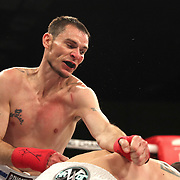 FORT LAUDERDALE, FL - FEBRUARY 15: Joshua Bordauex punches Travis Thompson during the Bare Knuckle Fighting Championships at Greater Fort Lauderdale Convention Center on February 15, 2020 in Fort Lauderdale, Florida. (Photo by Alex Menendez/Getty Images) *** Local Caption *** Travis Thompson; Joshua Bordauex