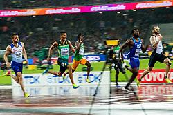 09-08-2017 IAAF World Championships Athletics day 6, London<br /> Daniel Talbot GBR, Wayde van Niekerk RSA, Ameer Webb USA, Ramil Guliyev TUR, 200m