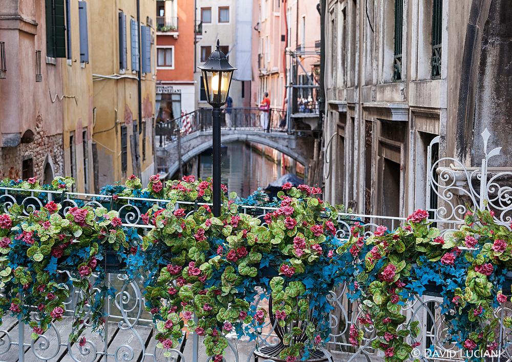 A flower bridge in Venice.
