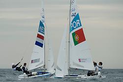 01-08-2012 WATERSPORT: OLYMPISCHE SPELEN 2012: WEYMOUTH<br /> Coster Kalle, Coster Sven, (NED, 470 Men).Marinho Alvaro, Nunes Miguel, (POR, 470 Men) <br /> ***NETHERLANDS ONLY***<br /> ©2012-FotoHoogendoorn.nl