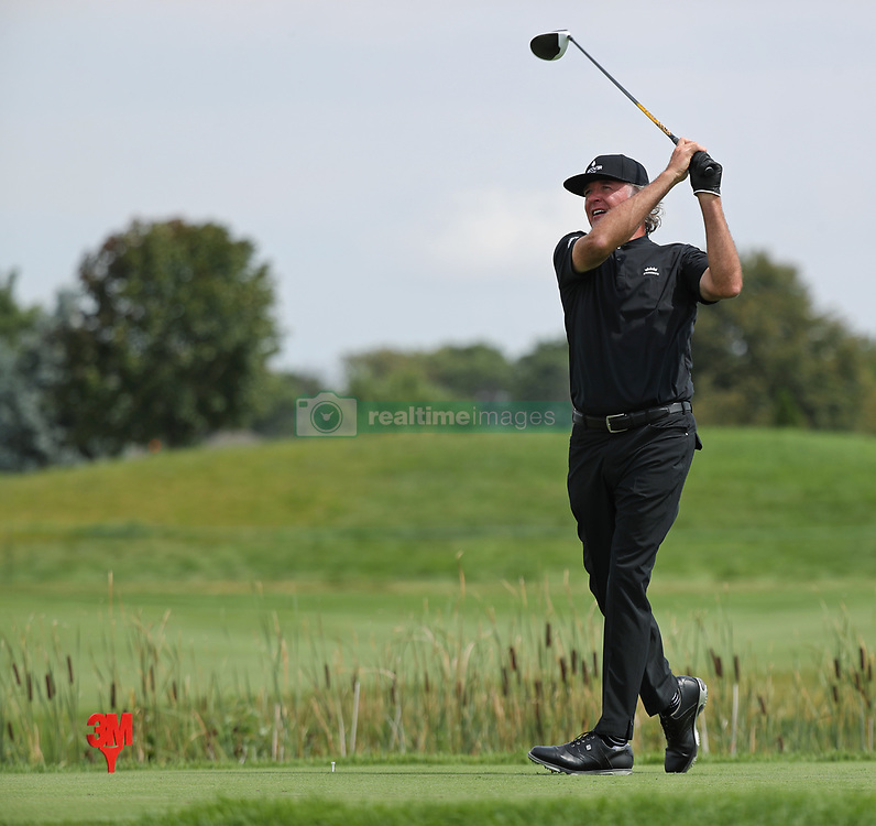 August 3, 2018 - Blaine, MN, USA - Tommy Armour III tees off on the 1st hole during the opening round of the Champions Tour's 3M Championship at the TPC in Blaine, Minn., on Friday, Aug. 3, 2018. (Credit Image: © Shari L. Gross/TNS via ZUMA Wire)