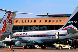 Delta Airplane in Front of William P. Hobby Airport Terminal