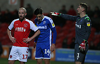 Fleetwood Town's Paddy Madden closely marked by Gillingham's Alfie Jones and goalkeeper Jack Bonham<br /> <br /> Photographer Stephen White/CameraSport<br /> <br /> The EFL Sky Bet League One - Fleetwood Town v Gillingham - Saturday 14th December 2019 - Highbury Stadium - Fleetwood<br /> <br /> World Copyright © 2019 CameraSport. All rights reserved. 43 Linden Ave. Countesthorpe. Leicester. England. LE8 5PG - Tel: +44 (0) 116 277 4147 - admin@camerasport.com - www.camerasport.com