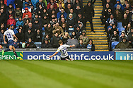 Wycombe Wanderers Midfielder, Bryn Morris (17) scores a goal to make it 0-1 during the EFL Sky Bet League 1 match between Portsmouth and Wycombe Wanderers at Fratton Park, Portsmouth, England on 22 September 2018.
