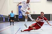 Futsal: 1. Bundesliga, HSV-Panthers - Stuttgart Futsal Club, Hamburg, 11.09.2021<br /> Michael Meyer (Panthers, l.) - Manuel Fischer (Stuttgart)<br /> © Torsten Helmke