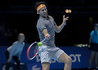 Tennis - 2019 Nitto ATP Finals at The O2 - Day Seven<br /> <br /> Semi Finals: Dominic Thiem (Austria) Vs. Alexander Zverev (Germany)<br /> <br /> Dominic Thiem (Austria) with a forehand return <br /> <br /> COLORSPORT/DANIEL BEARHAM<br /> <br /> COLORSPORT/DANIEL BEARHAM