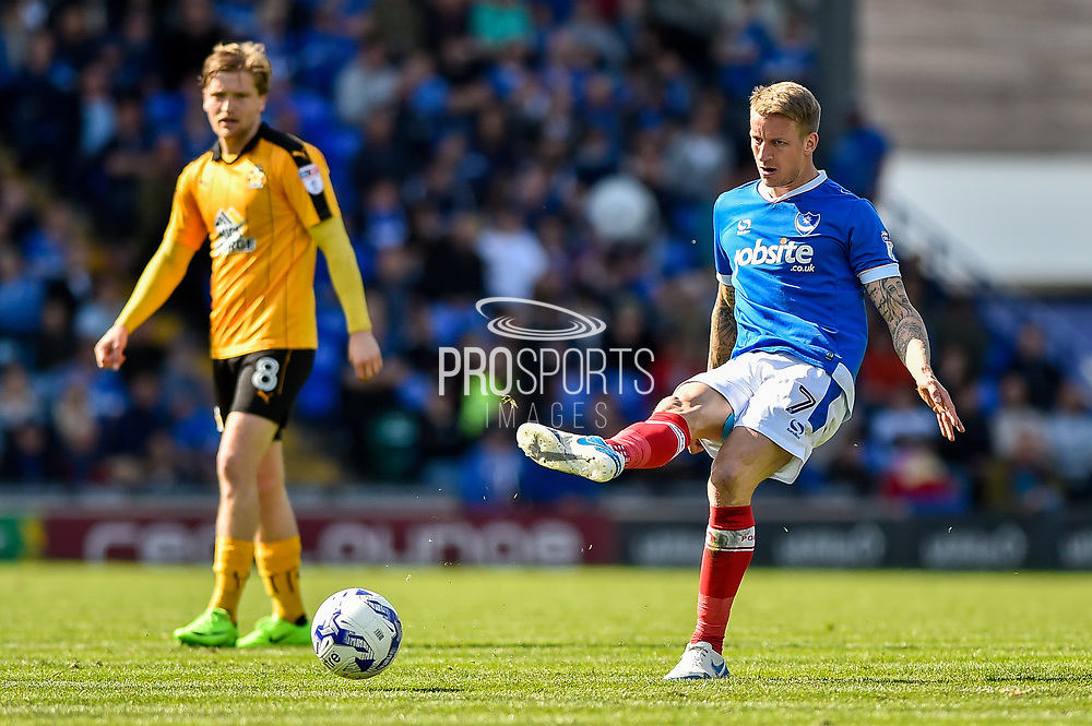 Portsmouth Midfielder, Carl Baker (7) goal scorer during the EFL Sky Bet League 2 match between Portsmouth and Cambridge United at Fratton Park, Portsmouth, England on 22 April 2017. Photo by Adam Rivers.