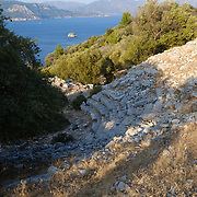Remains of amphitheatre of Amos ancient castle, Turkey