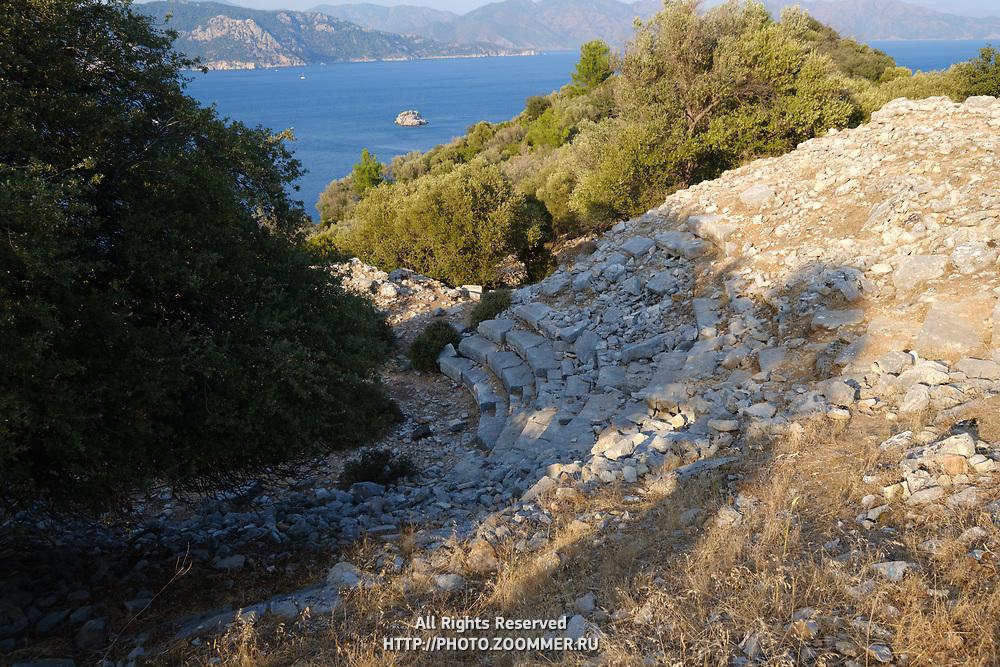Remains of amphitheatre of Amos ancient castle, Turkey