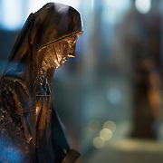 A 16th century wooden statue of St Anne at Old St. John's Hospital in Bruges, Belgium. Old St. John's Hospital is one of Europe's oldest surviving hospital buildings that dates to the 11th century. It originally treated sick pilgrims and travelers. A monastery and convent was later added. It is now a museum.