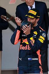 Andrea Casiraghi gives the award to 3rd classified Daniel Ricciardo. Monaco on May 28th, 2017. Photo by Marco Piovanotto/ABACAPRESS.COM
