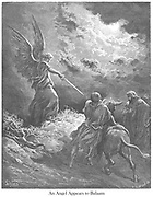 The Angel Appearing to Balaam Numbers 22:23 From the book 'Bible Gallery' Illustrated by Gustave Dore with Memoir of Dore and Descriptive Letter-press by Talbot W. Chambers D.D. Published by Cassell & Company Limited in London and simultaneously by Mame in Tours, France in 1866