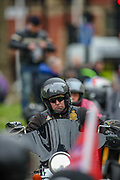 London, UK, May, 8, 2021 — British war veterans are seen leaving central London on their motorbikes after a 'Respect our Veterans' march in Parliament Square, central London on Saturday, May 8, 2021. The march follows the collapse of the controversial trial earlier this week against two paratroopers accused of murdering Official IRA leader Joe McCann in 1972. (Photo/ Vudi Xhymshiti)