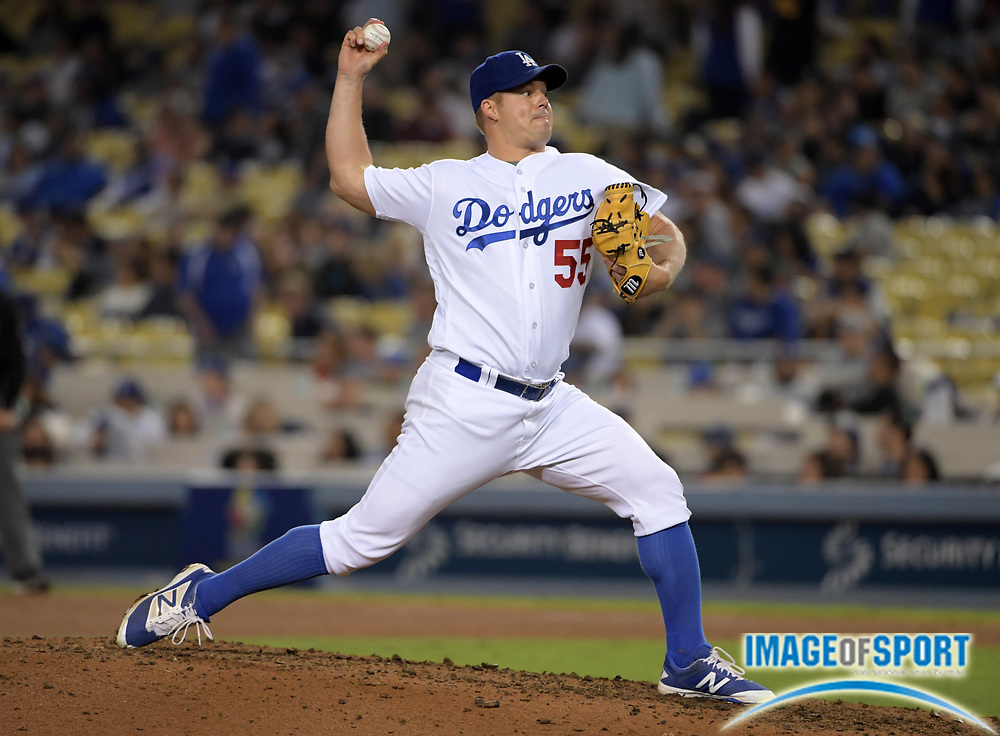 Sep 6, 2016; Los Angeles, CA, USA; Los Angeles Dodgers relief pitcher Joe Blanton (55) delivers a pitch against the Arizona Diamondbacks during a MLB game at Dodger Stadium.