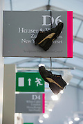Hanging Shoes by Christoph Buchel at the Hauser Gallery - Frieze London 2014, Regents Park, London, 14 Oct 2014.