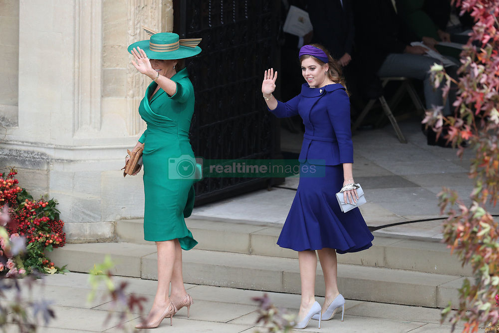 Sarah Ferguson and Princess Beatrice arrive for the wedding of Princess Eugenie to Jack Brooksbank at St George's Chapel in Windsor Castle.