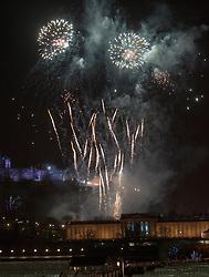 10pm Countdown Fireworks lit from Edinburgh Castle.<br /> Edinburgh's Hogmanay 2013.