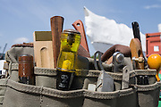 Woodworking tools at the New England Shipyard, North Kingstown, Rhode Island. The shipyard restores wooden boats.
