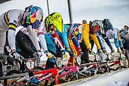 #7 (SAKAKIBARA Saya) AUS and #911 (SHRIEVER Bethany) GBR at Round 3 of the 2020 UCI BMX Supercross World Cup in Bathurst, Australia.