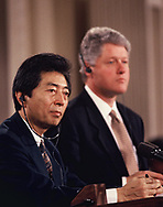 A medi briefing  with President  Clinton<br /> and Japanese rPrime Minister Hosokawa on  Fedruary 11, 1994.<br />Photo by Dennis Brack