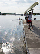 Poznan, POLAND. General view of the course, SUI M4X, lifting their boat. , 2015 FISA European Rowing Championships. Venue, Lake Malta. Friday 29.05.2015. [Mandatory Credit: Peter Spurrier/Intersport Images] .   Empacher.