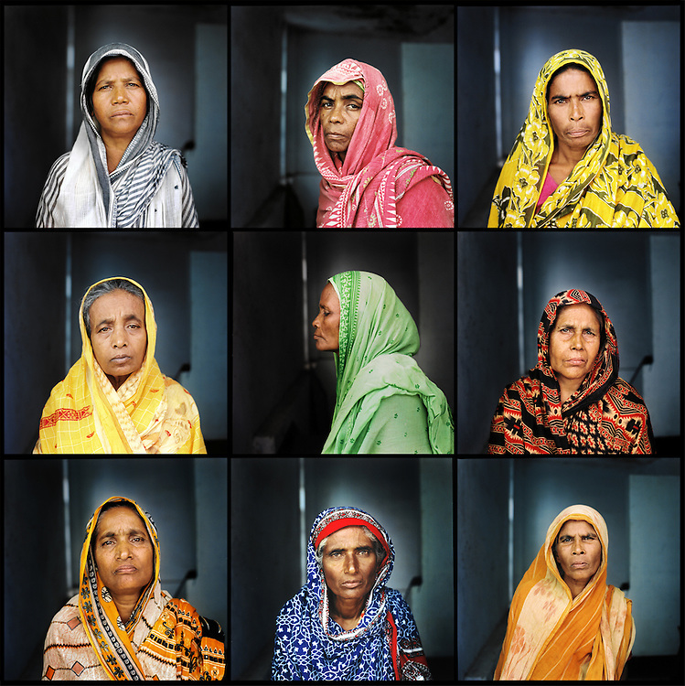 Nine women who were raped by the West Pakistani army during the Liberation War.  Sirajganj, Bangladesh. August 2011.