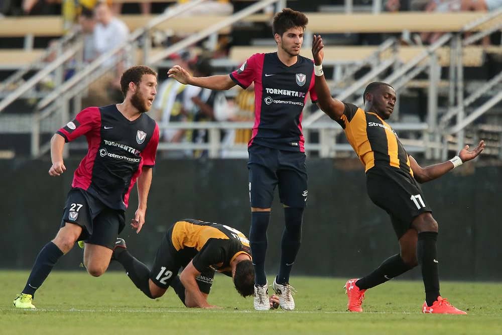 Vincenzo Candela (12), Patrick Okonkwo (17). <br /> Lamar Hunt US Open Cup: Tormenta FC vs. Charleston Battery in the second round at MUSC Health Stadium in Charleston, S.C. on Wednesday, May 16, 2018.<br /> Zach Bland/Charleston Battery
