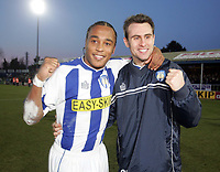 FA CUP 4TH ROUND. COLCHESTER V DERBY 28.01.06<br />PHOTO: SHELLEY GARLICK FOTOSPORTS INTERNATIONAL<br />COLCHESTER GOAL SCORERS NEIL DANNS AND RICHARD GARCIA CELEBRATE VICTORY