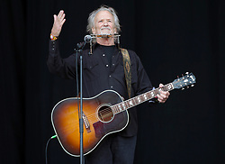 Kris Kristofferson performing on the Pyramid Stage, at the Glastonbury Festival at Worthy Farm in Pilton, Somerset.