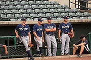 Members of the minor league Rome Braves watch New York Yankees Alex Rodriguez during batting practice with the minor league Charleston RiverDogs at Joseph P. Riley Jr. Stadium July 2, 2013 in Charleston, South Carolina.