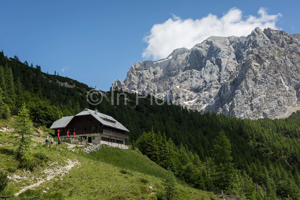 The cafe and restaurant with mountain views at the top of Vrsic Pass in the Slovenian Julian Alps, on 22nd June 2018, in Triglav National Park, Slovenia.