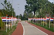 Nederland, Aalten, 28-8-2019Een smalle doorgaande weg in een buurtschap is aan beide zijden afgebakend met een rij houten nederlandse vlaggen .Foto: Flip Franssen