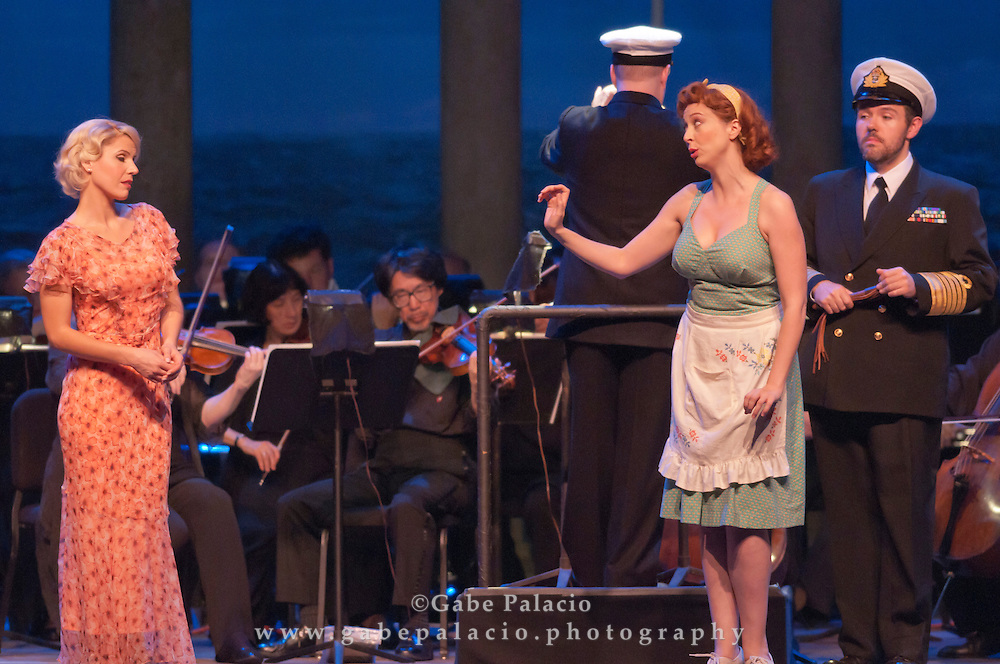 Georgia Jarman, soprano,  in the role of Josephine, Vanessa Cariddi, in the role of Little Buttercup, and Jason Plourde, as Sir Josept Porter, during the performance of HMS Pinafore, a Bel Canto at Caramoor performance in the Venetian Theater of Caramoor in Katonah New York..photo by Gabe Palacio