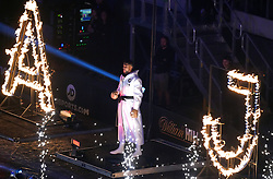 Anthony Joshua makes his way to the ring ahead of the WBA, WBO, IBF and IBO World Heavyweight titles match against Oleksandr Usyk at the Tottenham Hotspur Stadium. Picture date: Saturday September 25, 2021.