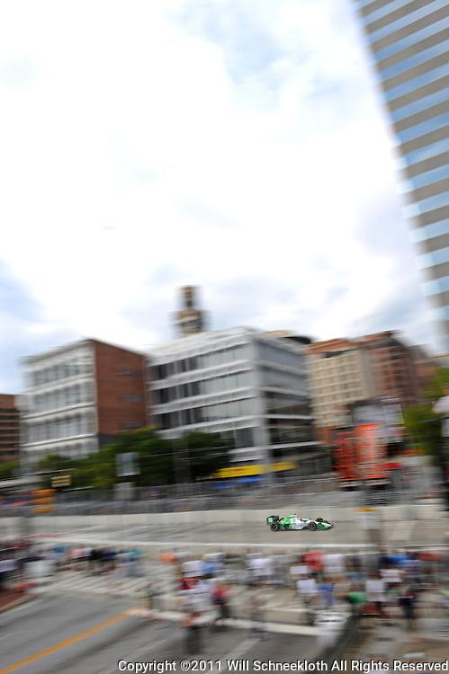 HVM Racing's Simon de Silvestro practices for the 2011 IZOD IndyCar Baltimore Grand Prix.