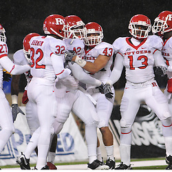 Oct 23, 2009; West Point, N.Y., USA; Rutgers linebacker Steve Beauharnais celebrates his blocked punt and touchdown with teammates during Rutgers' 27 - 10 victory over Army at Michie Stadium.