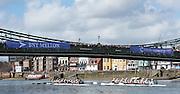 London. UNITED KINGDOM.  1Both crews approaching Hammersmith Bridge. The 71st Newton Women's Boat Race on the Championship Course, River Thames, Putney/Mortlake.  Sunday  27/03/2016    [Mandatory Credit. Intersport Images]<br /> <br /> Oxford University Women's Boat Club {OUWBC} vs Cambridge University Women's Boat Club {CUWBC} <br /> <br /> Oxford, Crew Cox – Morgan Baynham-Williams, Stroke – Lauren Kedar, 7 – Maddy Badcott, 6 – Anastasia Chitty, 5 – Elo Luik, 4 – Ruth Siddorn, 3 – Joanneke Jansen, 2 – Emma Spruce, Bow – Emma Lukasiewicz<br /> <br /> Cambridge, Crew Bow Ashton Brown, 2 Fiona Macklin, 3 Alice Jackson, 4 Thea Zabell, 5 Daphne Martschenko, 6 Myriam Goudet, 7 Hannah Roberts, Stroke Zara Goozee, Cox Rosemary Ostfeld.