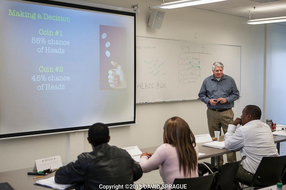 Instructor Jim Manteney leads a class in Effective Decision Making. LA Valley College's Worksource Development program is hosting the Biotech Bridge Academy at the Van de Kamp Innovation Center.  Shot Feb. 22,  2013 Photo by David Sprague ©2013