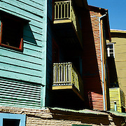 A panoramic view of the colorful houses in La Boca district of Buenos AIres, Argentina. 23rd July 2011. Photo Tim Clayton