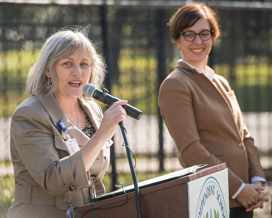 Lindsey Pollock comments during a groundbreaking ceremony at Garden Oaks Montessori, February 17, 2017.