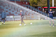 Stevenage FC Ground shot warming up during the EFL Sky Bet League 2 match between Stevenage and Bradford City at the Lamex Stadium, Stevenage, England on 5 April 2021.