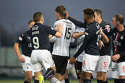 St Mirren's Jack Baird punches Falkirk's Lee Miller after a tackle and gets a red card. half time : Falkirk 0 v 1 St Mirren, Scottish Championship game played 3/12/2016 at The Falkirk Stadium .