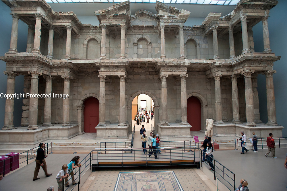 Newly restored Roman Market Gate of Miletus at Pergamon Museum on Museumsinsel in Berlin