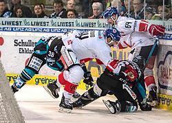 17.02.2019, Keine Sorgen Eisarena, Linz, AUT, EBEL, EHC Liwest Black Wings Linz vs HC TWK Innsbruck Die Haie, 47. Runde, im Bild v.l. Sacha Guimond (HC TWK Innsbruck Die Haie), Stefan Gaffal (EHC Liwest Black Wings Linz), Ondrej Sedivy (HC TWK Innsbruck Die Haie) // during the Erste Bank Eishockey League 47th round match between EHC Liwest Black Wings Linz and HC TWK Innsbruck Die Haie at the Keine Sorgen Eisarena in Linz, Austria on 2019/02/17. EXPA Pictures © 2019, PhotoCredit: EXPA/ Reinhard Eisenbauer