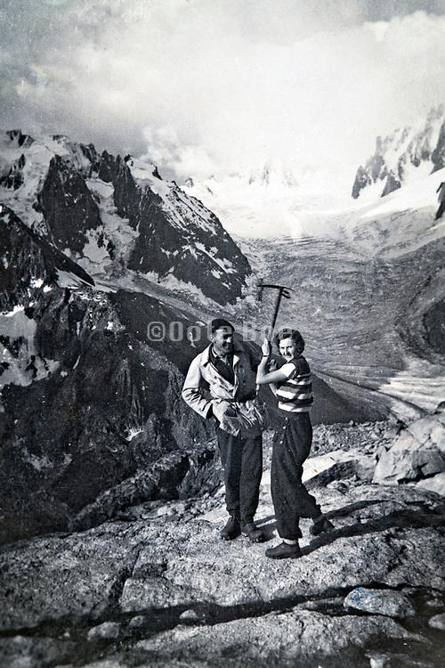at the bottom of La Tour Ronde posing with the glacier de la Brenva in the Alps 1934