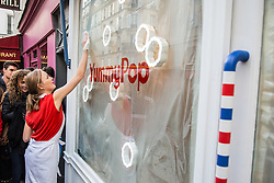 Outside view of popcorn store 'YummyPop' in the Marais district on its opening day, in Paris, France on October 22, 2016. Hollywood actress Scarlett Johansson opened together with her French husband, advertising executive Romain Dauriac, her own gourmet popcorn store, selling treats includingpopcornflavoured with Vermont cheddar, truffle, parmesan and sage. Photo by ABACAPRESS.COM